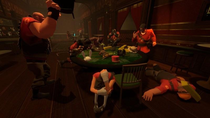 TF2 mercenaries playing poker.