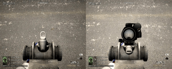 Payday's scopes are toggleable mid-heist. This is most important for the M308, whose iron sight is better for brighter maps.