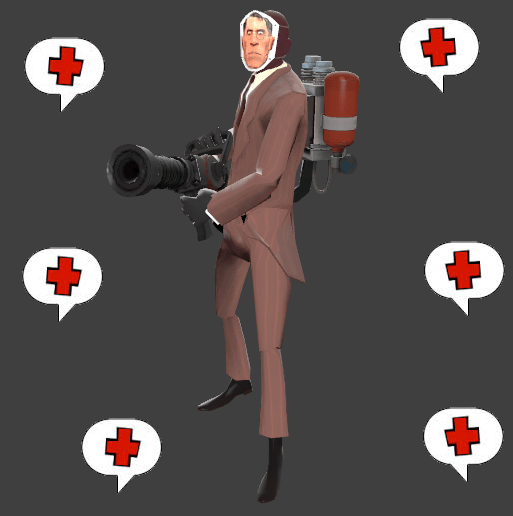 By far the funniest bug patch was the one that stopped Spies disguised as Medics from seeing auto-callouts. Model by TheRealFierceDiety.