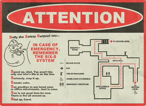 The state of the RED and BLU fortresses tells a story through tiny details like evacuation signs and warning posters.