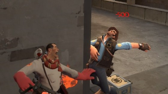The expression on my Medic's face always makes me smile. That, and the memory of Sniper faceplanting the door frame.