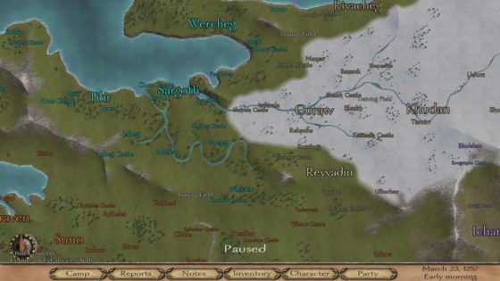 This is the northern part of Calradia. The Kingdom of Nords is in light blue, Vaegirs in gray and Swadia in orange. The purple Khergit Khanate is also visible. I am the tiny dot near Reyvadin.