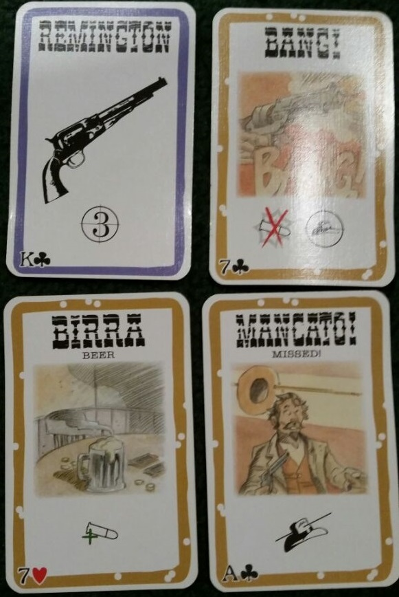 The four cards that make the foundation of the gameplay. Bang! lets you shoot another player, Missed! can counter-act a Bang!, Beer can heal you, and blue-bordered cards are played in front of a player to buff or hinder them.