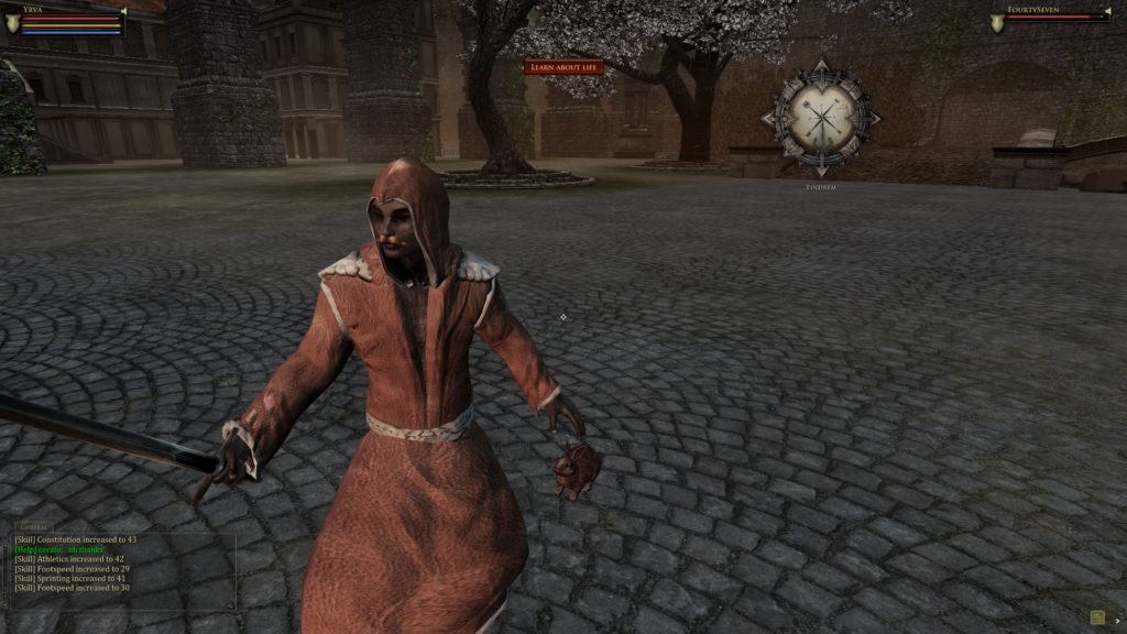 This is Fortyseven. After completing the tutorial quest to craft a robe, I gave said robe to him and he was able to completely bypass the entire thing.