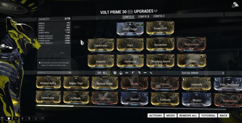 This is my Volt Prime, complete with Reactor and Exilus Slot.