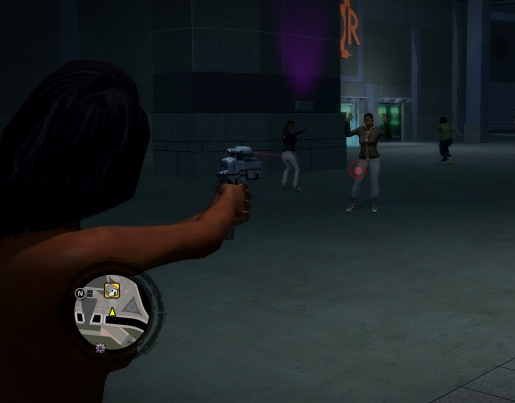 The Kobra machine pistol in Saints Row 2 is the only weapon with a laser sight, subtly alerting the player that it has a longer effective range than normal pistols.