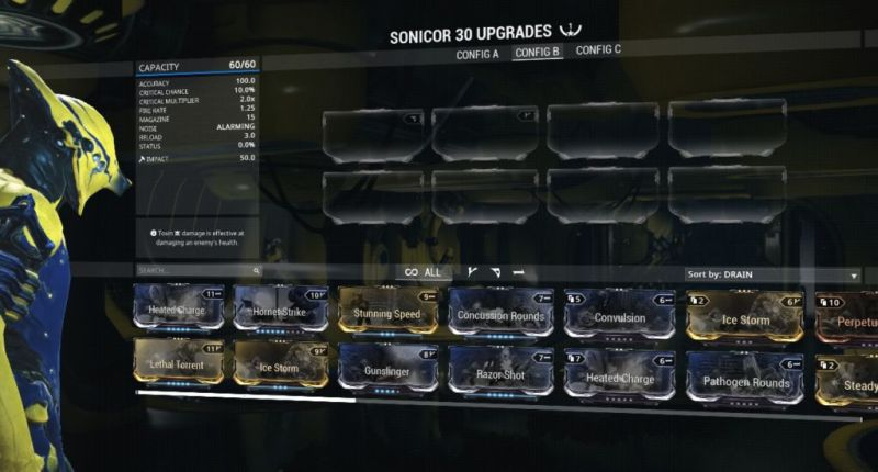 The Sonicor's basic stats with no mods. Ignore the V polarity, that's from the Forma I added.