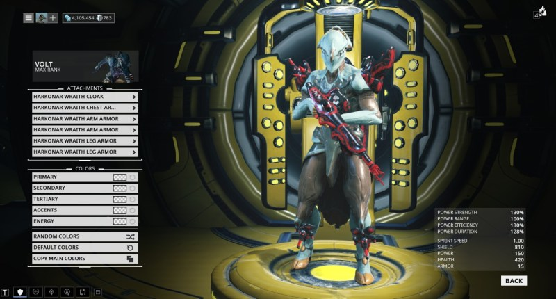 You're supposed to use Excalibur to show off cosmetics but I don't have Excalibur. Pictured are the Ignis Wraith and full Harkonar Wraith set.
