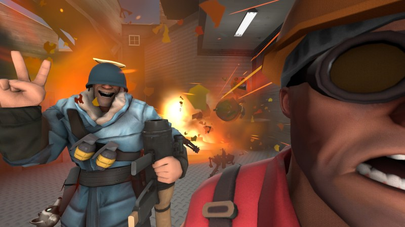 Soldier enjoying Engie's dismay at the loss of his sentry gun.