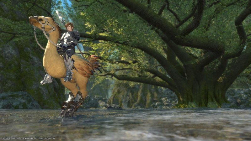 Riding my chocobo, Kato, in the central shroud.