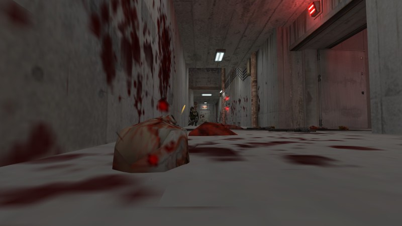 Gory remains littered in a corridor.