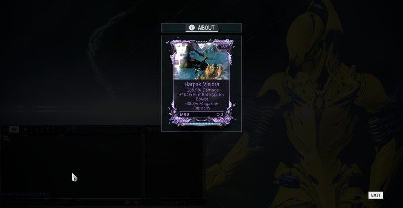 This is one of my favourite rivens. The Harpak isn't an amazing weapon, but in 2 rolls I got this beautiful thing.