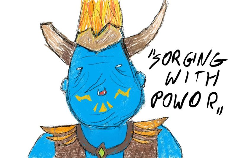 "Grohk from Paladins ""Sorging with powor"""