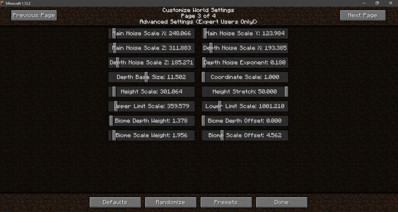 Minecraft Custom Generated Worlds