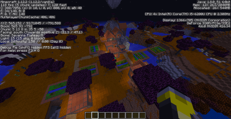 An example of the Debug Menu on a Creative world