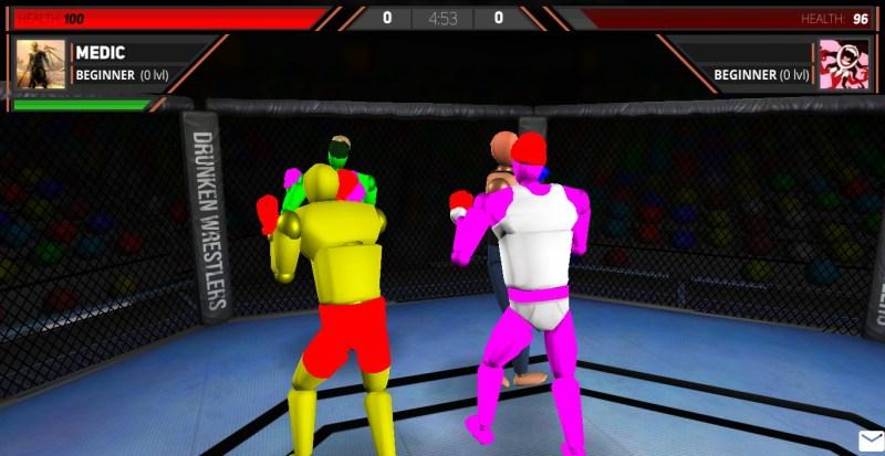 Drunken wrestlers getting ready to fight