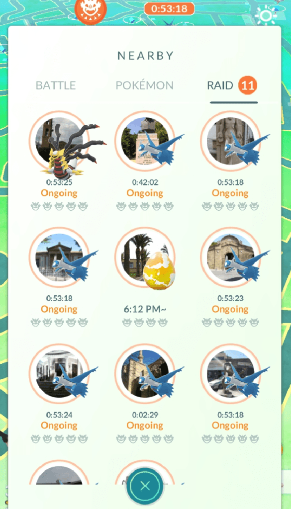 On Friday 19th, there was a mini Pokemon Go event where every nearby gym had a raid on it. These were all the raids available while I was in the heart of Nicosia. Larger cities are like this all the time!