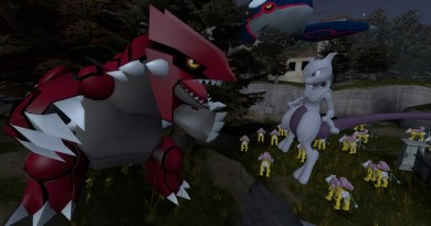 Groudon and Mewtwo chat as Raikous fight a massive Kyogre
