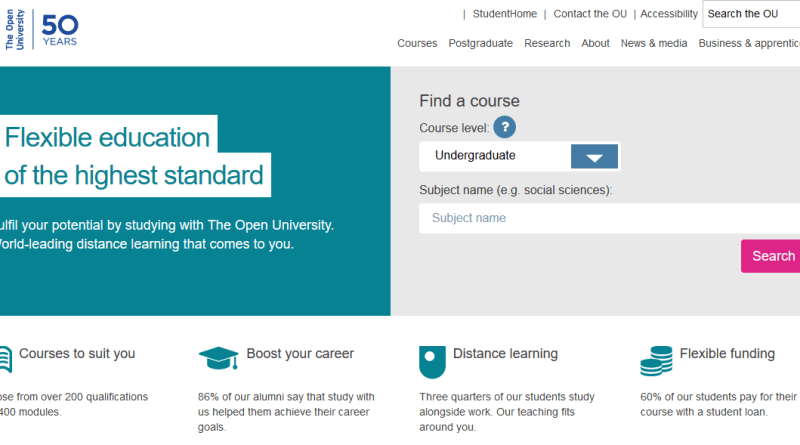 The Open University homepage