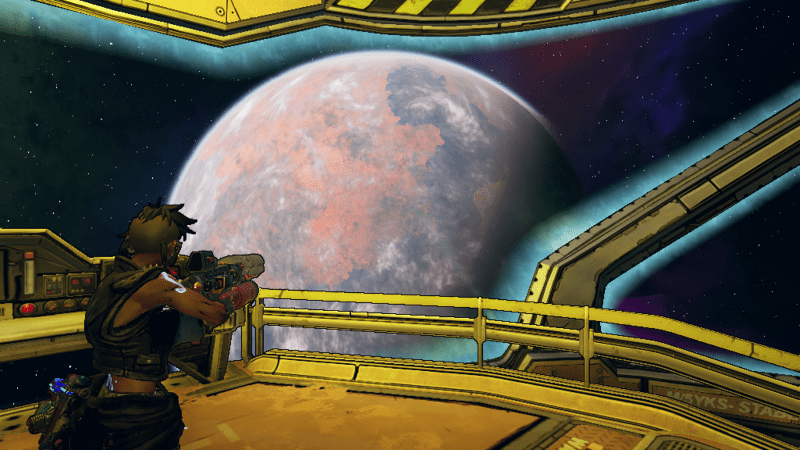 Leaving Pandora for the first proper time. Unless you're Lilith, who was on the moon of Elpis in the Pre-Sequel