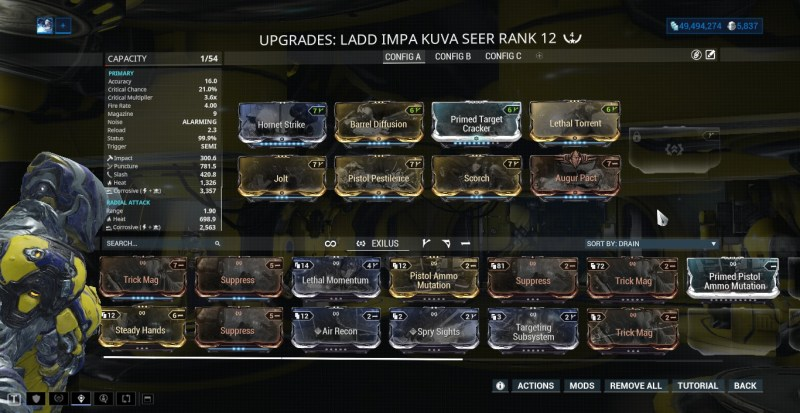 The Ladd Impa Kuva Seer with an Exilus Slot ready to be unlocked.