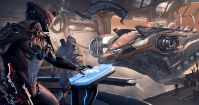 The new loading screen in Warframe - Excalibur and Rhino overlooking their new ship.