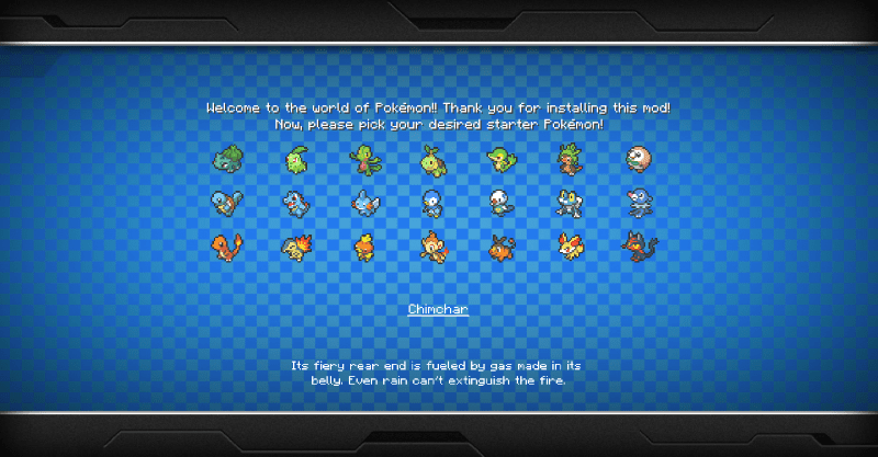 The main good thing about Pixelmon is being able to pick ANY of the Gen 1-7 starters.