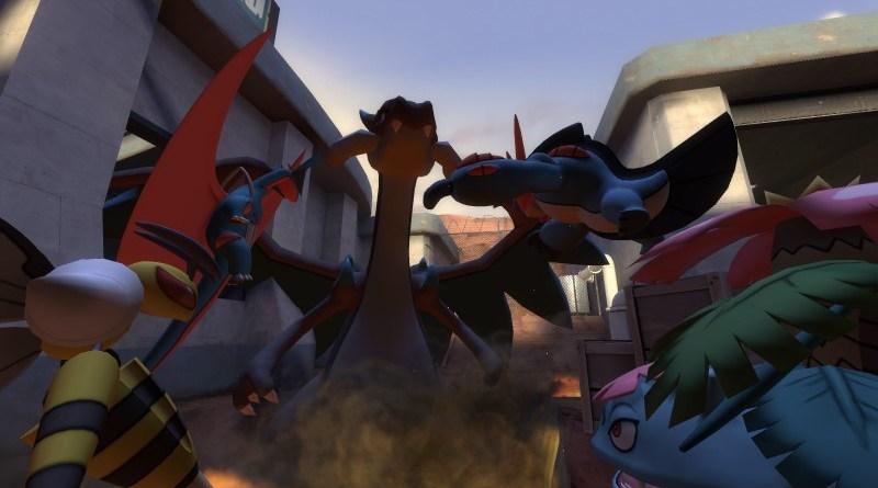 Mega Salamence, Mega Beedrill, Mega Swampert and Mega Venasaur all battle a Mega Charizard
