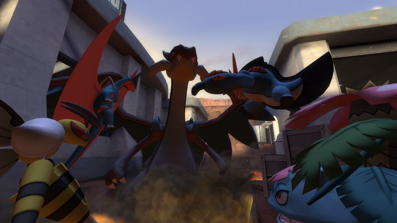 Mega Salamence, Mega Beedrill, Mega Swampert and Mega Venasaur all battle a Mega Charizard