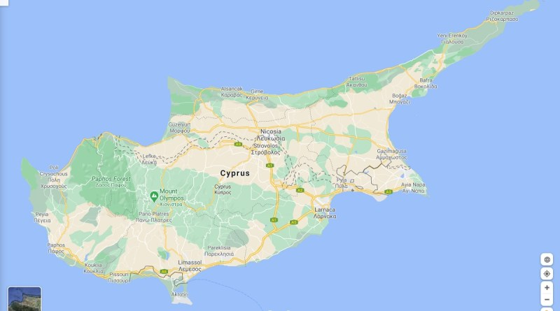 A map of Cyprus, as shown by Google Maps.