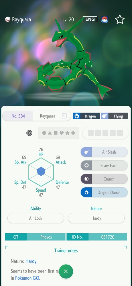 A Rayquaza transferred from GO to HOME
