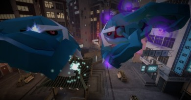 A Purified Metagross and a Shadow Metagross duke it out in the city