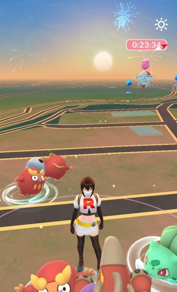 A sunset in Pokemon Go