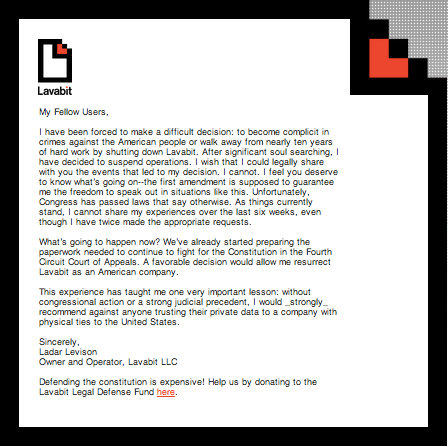 Lavabit Suspended Operations