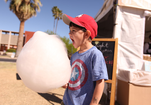 boy about to devour organic cotton candy