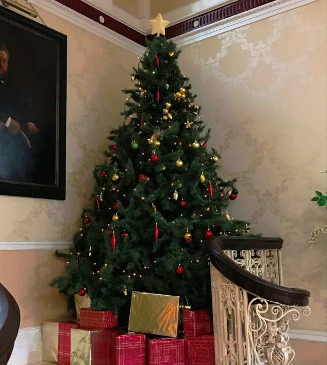 Christmas tree on the main staircase at Spurgeon's College