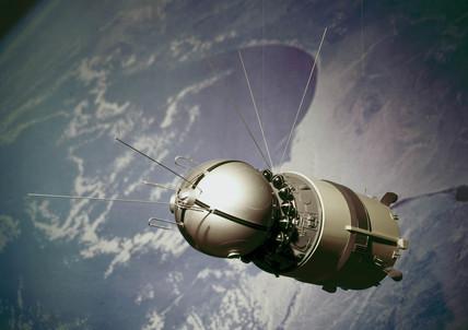 Vostok-1 aún con la tercera etapa.