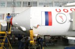 22 de septiembre 2013: En lugar de lanzamiento en Baikonur; continúan los preparativos para el lanzamiento de la Soyuz TMA-10M, vehículo tripulado de transporte en el marco del programa de la Estación Espacial Internacional. La integración básica del vehículo de lanzamiento con el cohete Soyuz-FG y los materiales compuestos superiores se ha completado. (Foto: RKK Energia)