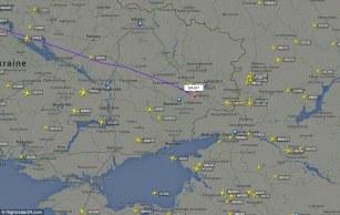 Plano más cercano en el aire para el MH17 sólo dos minutos antes de caer sobre Ucrania. Foto: Flightradar24.com