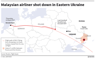 Ruta de vuelo prevista para el MH17, el útlimo contacto y el lugar de su caída. Inforgrafía Reuters.