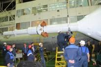 13 de Noviembre de 2016: Completando la integración de la nave al vehículo de lanzamiento (VL). Foto: S.P. Korolev/RSC Energia.