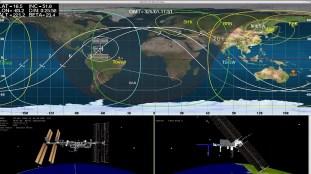 Situación de la EEI al momento del acoplamiento. Foto: NASA TV.