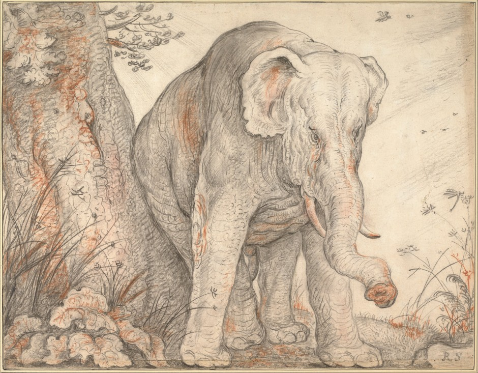 Roelant_Savery_-_An_Elephant_Rubbing_Itself_against_a_Tree,_c._1608-1612_-_Google_Art_Project