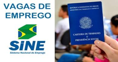 SINE- Vagas de emprego para está sexta-feira (15) em João Pinheiro