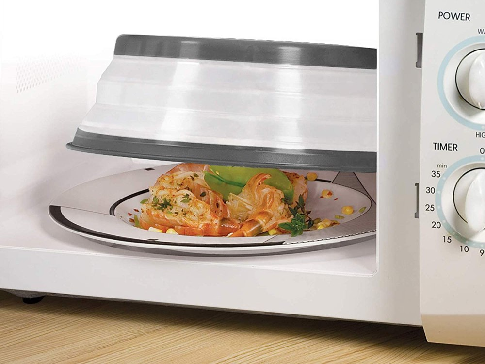 keep heat in and decrease splatter with a reusable microwave cover