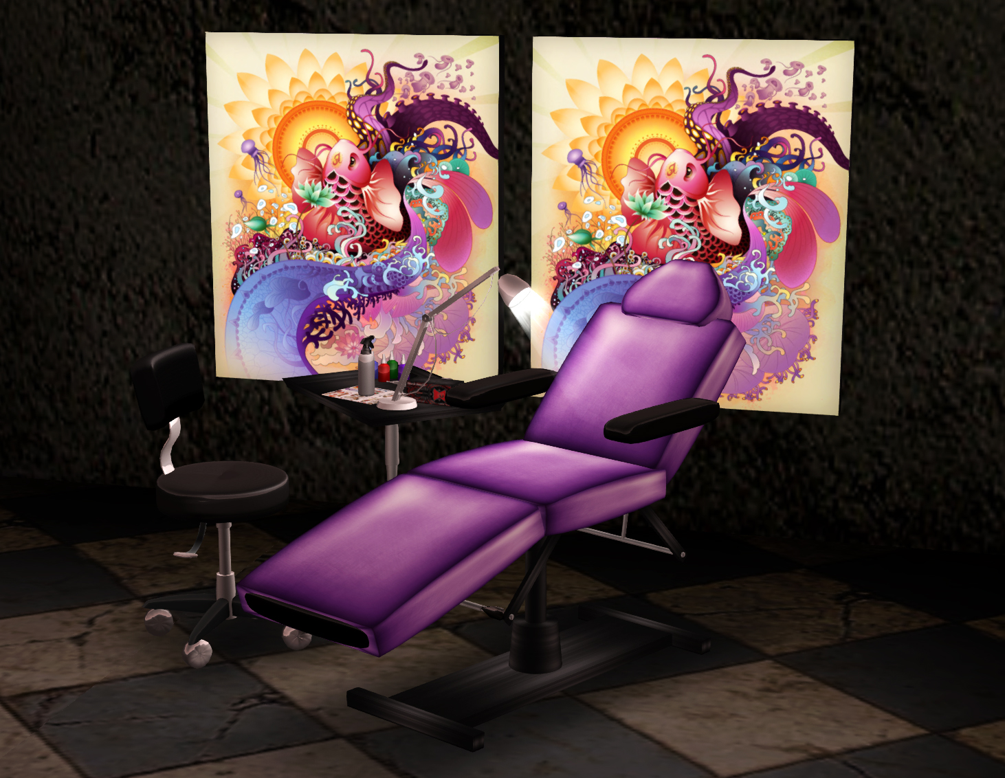 tattoo artist chair avery's covers and more circa eye candy shop set  in purple