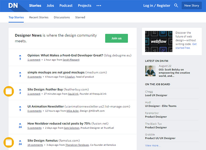 designer news homepage