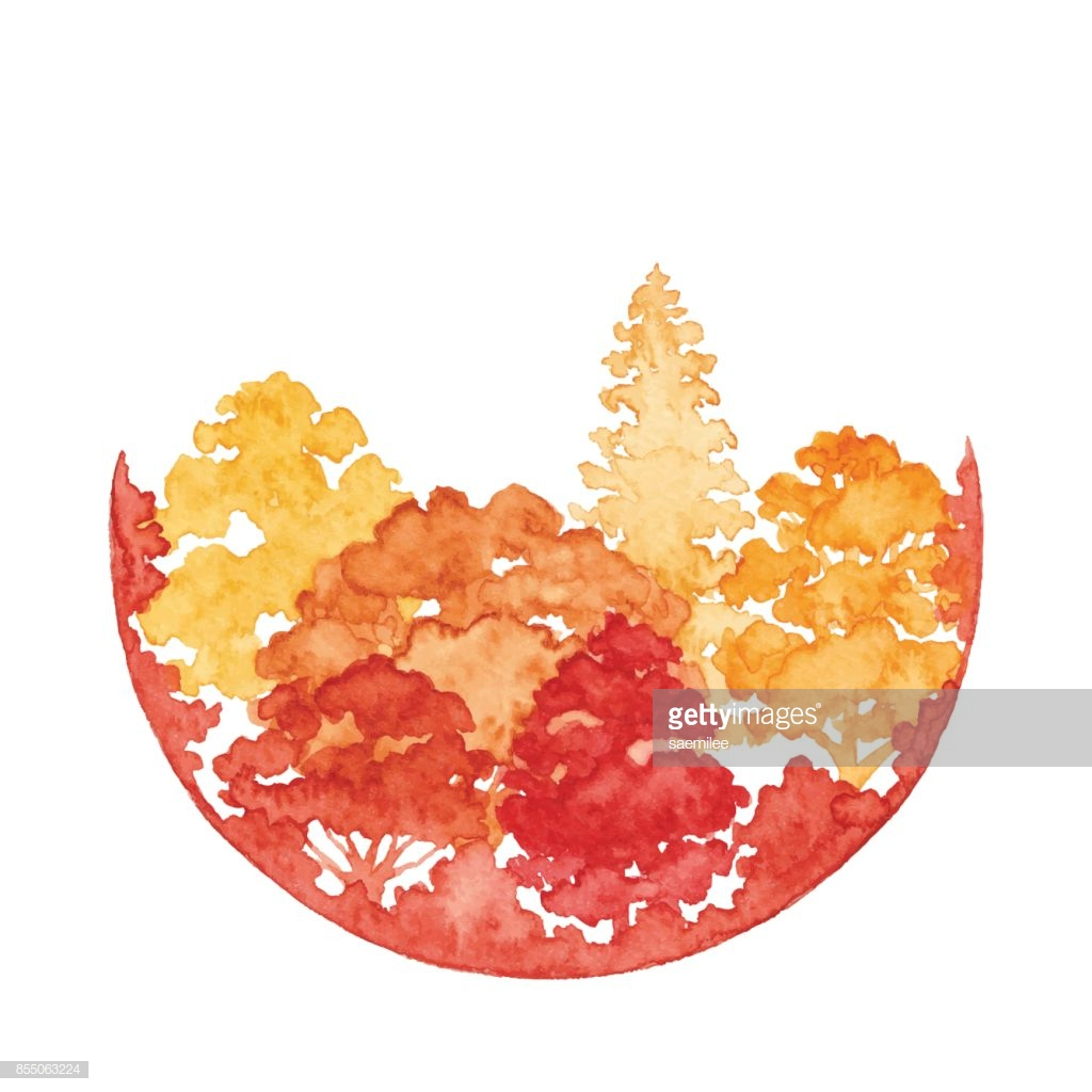 Watercolor Autumn Forest With Circle Frame