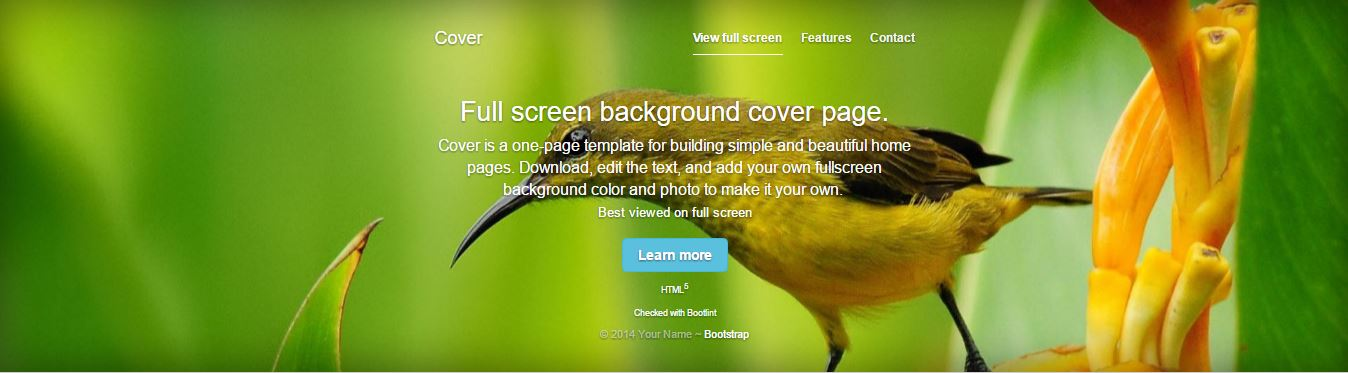 Fullscreen cover page