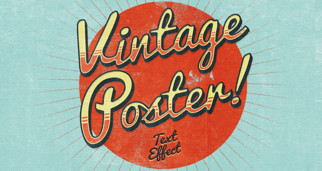 PSD vintage poster text effect